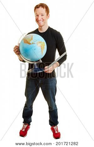 Geography teacher smiling and holding a globe on a white background