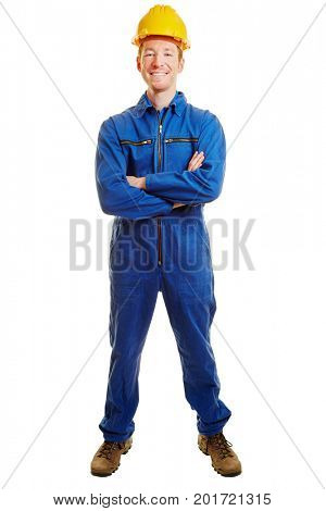 Smilng man as a construction worker with arms crossed and a builder