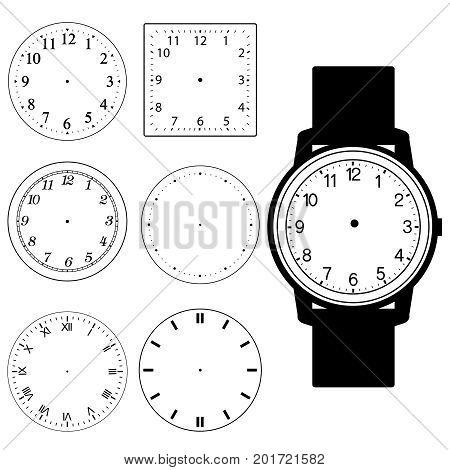 set of blank hand watch face and blank wall clock face vector illustration