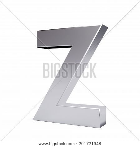 Metal letter Z. Part of collection. 3d image