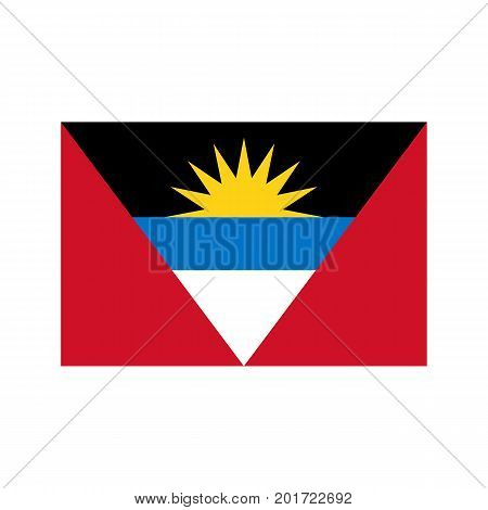 Antigua and Barbuda flag on the white background. Vector illustration