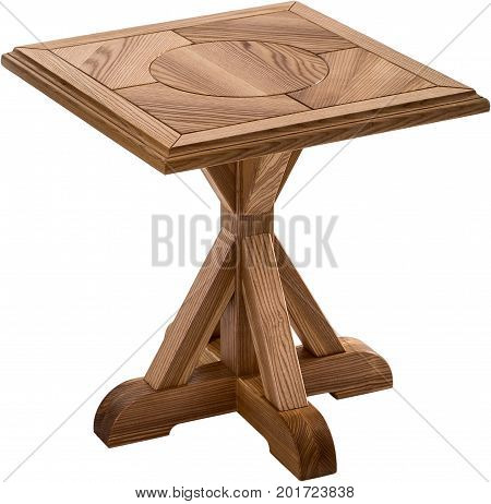 Wooden brown antique table isolated on white background. dining square table. Handmade table, furniture