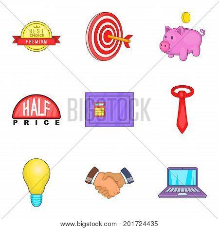 Progression icons set. Cartoon set of 9 progression vector icons for web isolated on white background