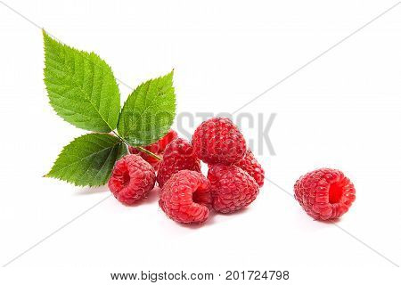 Ripe Raspberries With Leaf Isolated On White Background.