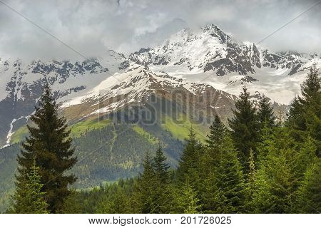 magnificent view of the greater caucasus range, kazbegi region, georgia