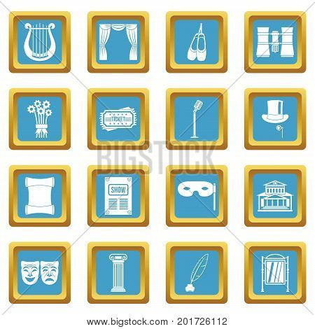 Theater icons set in azur color isolated vector illustration for web and any design