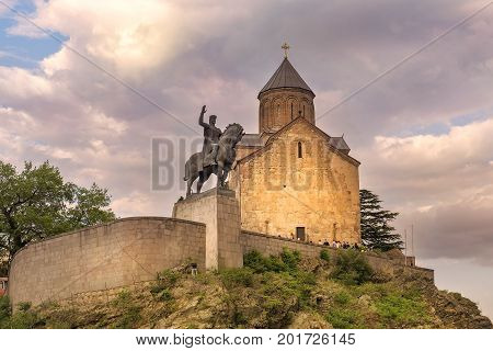 Metekhi church and the equestrian statue of King Vakhtang Gorgasali in Tbilisi, Georgia