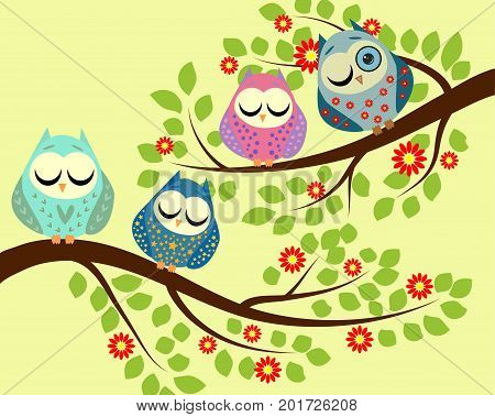 Spy. Four bright cartoon owls, sleeping on the branches of a blossoming tree, one owl with an open eye.