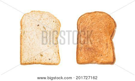 Natural 12 grains (barley buckwheat corn flaxseed millet rice rye sesame spelt sunflower triticale and wheat) sliced and toasted breads isolated on white background (Clipping paths included)