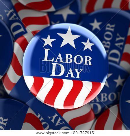 Labor day button background - 3d render