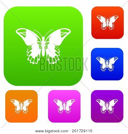 Admiral butterfly set icon in different colors isolated vector illustration. Premium collection