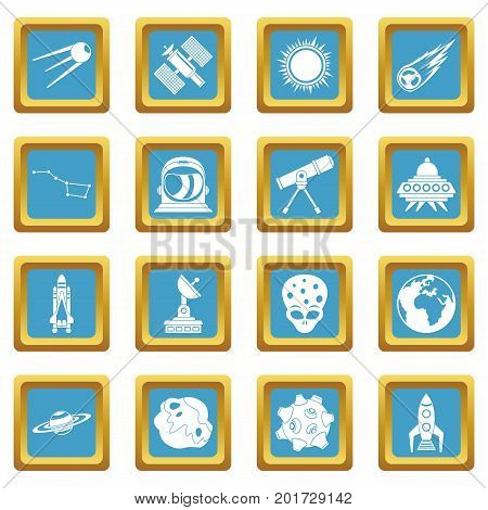 Space icons set in azur color isolated vector illustration for web and any design