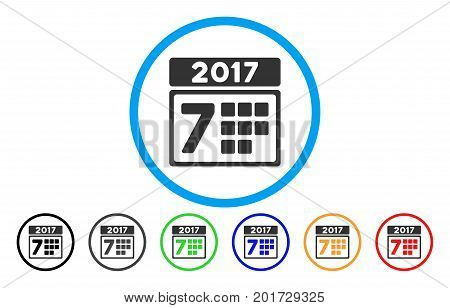 2017 Year 7Th Day vector rounded icon. Image style is a flat gray icon symbol inside a blue circle. Additional color variants are grey, black, blue, green, red, orange.
