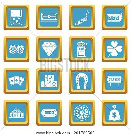 Casino icons set in azur color isolated vector illustration for web and any design
