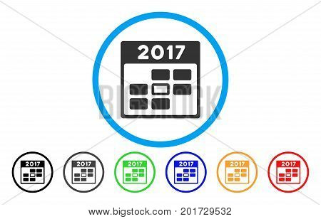 2017 Year Selected Calendar Day vector rounded icon. Image style is a flat gray icon symbol inside a blue circle. Bonus color versions are grey, black, blue, green, red, orange.