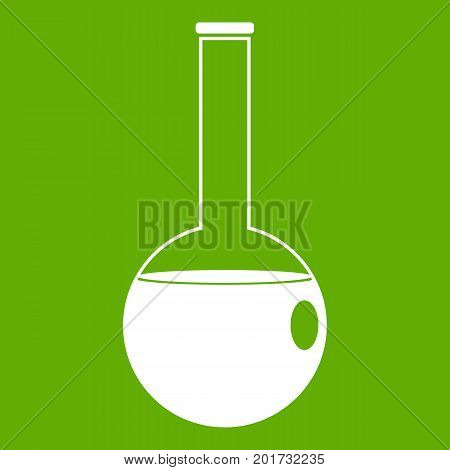 Chemical beaker icon white isolated on green background. Vector illustration