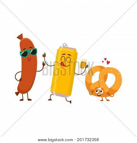 Happy beer can, salty pretzel and frankfurter sausage characters having party, cartoon vector illustration isolated on white background. Funny smiling beer can, pretzel, sausage characters celebrating