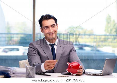 Bankrupt broke businessman with piggy bank