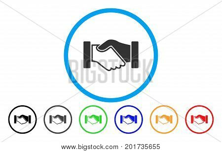 Acquisition Handshake vector rounded icon. Image style is a flat gray icon symbol inside a blue circle. Additional color variants are gray, black, blue, green, red, orange.