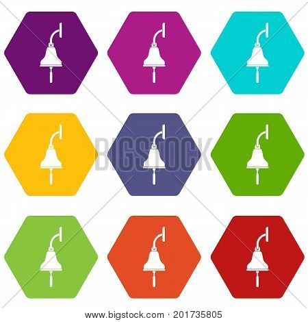 Ship bell icon set many color hexahedron isolated on white vector illustration