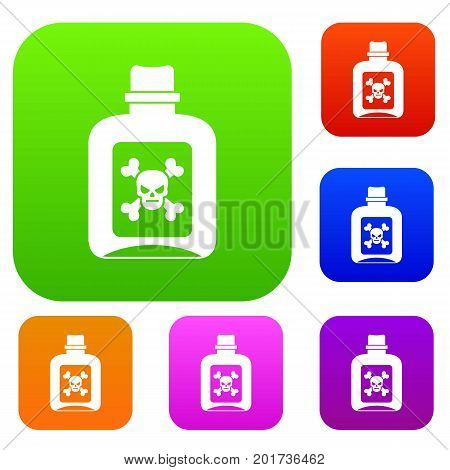 Poison set icon in different colors isolated vector illustration. Premium collection