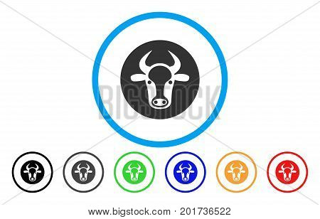 Bull Head vector rounded icon. Image style is a flat gray icon symbol inside a blue circle. Additional color versions are grey, black, blue, green, red, orange.