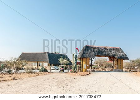 KAMANJAB NAMIBIA - JUNE 27 2017: The Oppi Koppi Rest Camp in Kamanjab a small town in the Kunene Region of Namibia