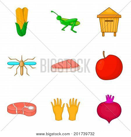 Meat procurement icons set. Cartoon set of 9 meat procurement vector icons for web isolated on white background