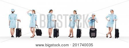 Digital composite of Stewardess holding baggage collage