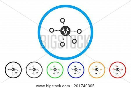 Cow Relations vector rounded icon. Image style is a flat gray icon symbol inside a blue circle. Bonus color variants are grey, black, blue, green, red, orange.