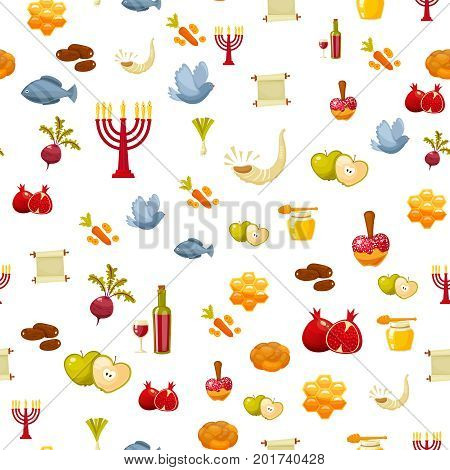 Rosh Hashanah, Shana Tova or Jewish New year seamless pattern, with honey, apple, fish, bottle, torah , lettuce, date, beet and other traditional items. Cartoon flat style vector illustration
