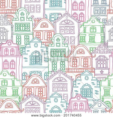 Seamless colored contour pattern with houses . Vector doodles