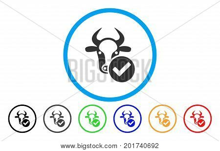 Cow Valid vector rounded icon. Image style is a flat gray icon symbol inside a blue circle. Bonus color variants are grey, black, blue, green, red, orange.