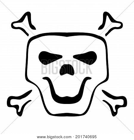 Dark human skull sketch with spooky smile. Black Icon flat on white background. Vector Simple cartoon skull and crossbones icon. Halloween design element or classic