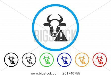 Cow Warning vector rounded icon. Image style is a flat gray icon symbol inside a blue circle. Additional color variants are gray, black, blue, green, red, orange.