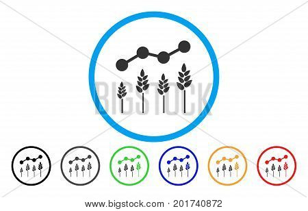 Crop Analytics vector rounded icon. Image style is a flat gray icon symbol inside a blue circle. Additional color variants are grey, black, blue, green, red, orange.