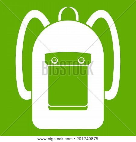 Backpack icon white isolated on green background. Vector illustration