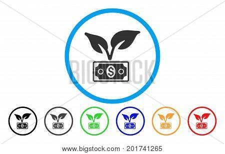 Eco Startup Gain vector rounded icon. Image style is a flat gray icon symbol inside a blue circle. Additional color variants are gray, black, blue, green, red, orange.