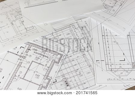 Plans of building. Architectural project. Floor plan designed building on the drawing. Engineering and technical drawing part of architectural project