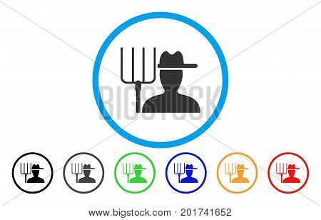 Farmer With Pitchfork vector rounded icon. Image style is a flat gray icon symbol inside a blue circle. Additional color versions are grey, black, blue, green, red, orange.