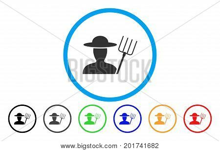 Farmer With Pitchfork vector rounded icon. Image style is a flat gray icon symbol inside a blue circle. Bonus color variants are grey, black, blue, green, red, orange.