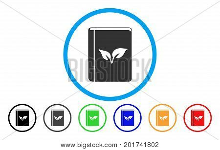 Flora Book vector rounded icon. Image style is a flat gray icon symbol inside a blue circle. Bonus color variants are gray, black, blue, green, red, orange.