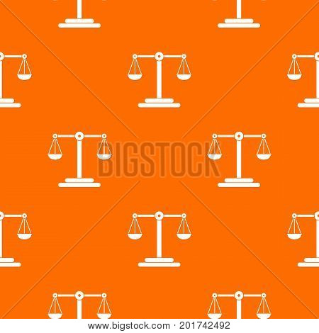 Scales balance pattern repeat seamless in orange color for any design. Vector geometric illustration