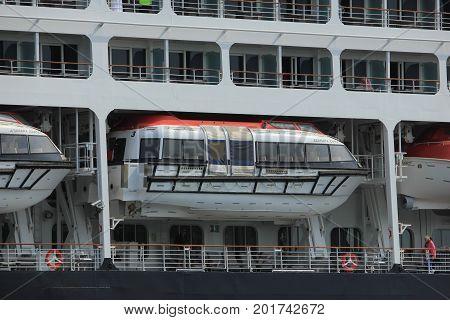 Velsen The Netherlands - June 20th 2017: Azamara Journey - Azamara Club Cruises on North Sea Channel detail of lifeboats