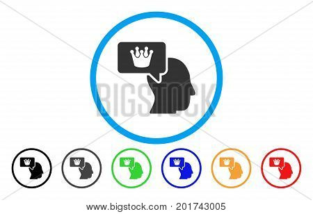 Person Dream Crown vector rounded icon. Image style is a flat gray icon symbol inside a blue circle. Additional color variants are grey, black, blue, green, red, orange.