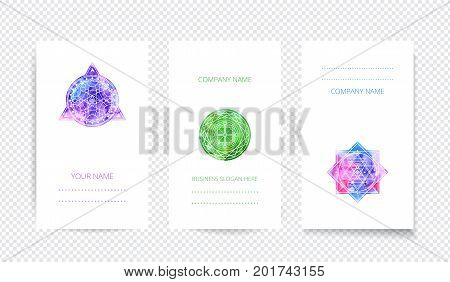 Set of colored symbol white cards with transparent shadow . Watercolor vector template .Sacred geometry print design.