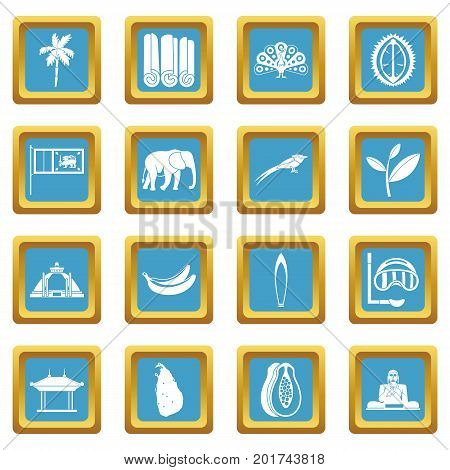 Sri Lanka travel icons set in azur color isolated vector illustration for web and any design