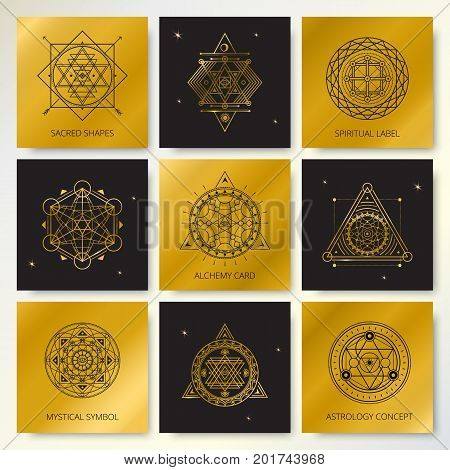 Set of golden and black cards with mystical line symbols .