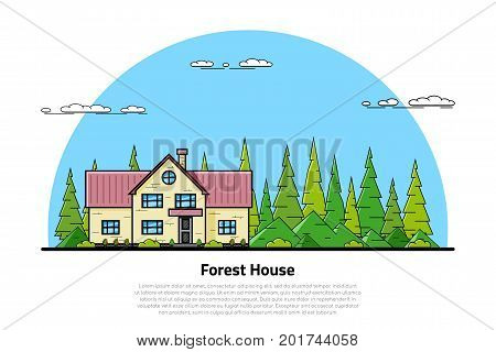 picture of modern private residential house with hills and trees on background, real estate and construction industry concept flat line art style illustration