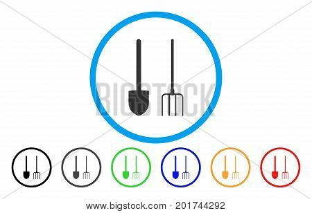 Pitchfork And Shovel Tools vector rounded icon. Image style is a flat gray icon symbol inside a blue circle. Bonus color variants are gray, black, blue, green, red, orange.